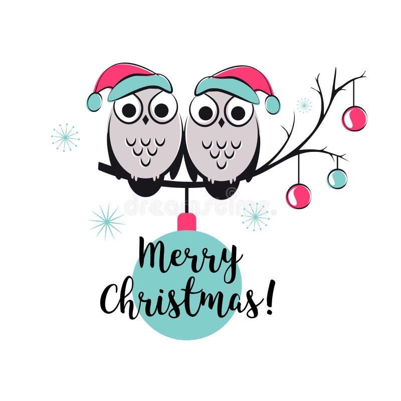 Карточка вектора шаблона с милыми сычами на ветви дерева С Рождеством Христовым snowlake, шарики и текст счастливое Новый Год иллюстрация вектора