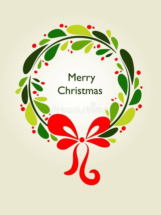 Карточка венка рождества - 1 иллюстрация вектора