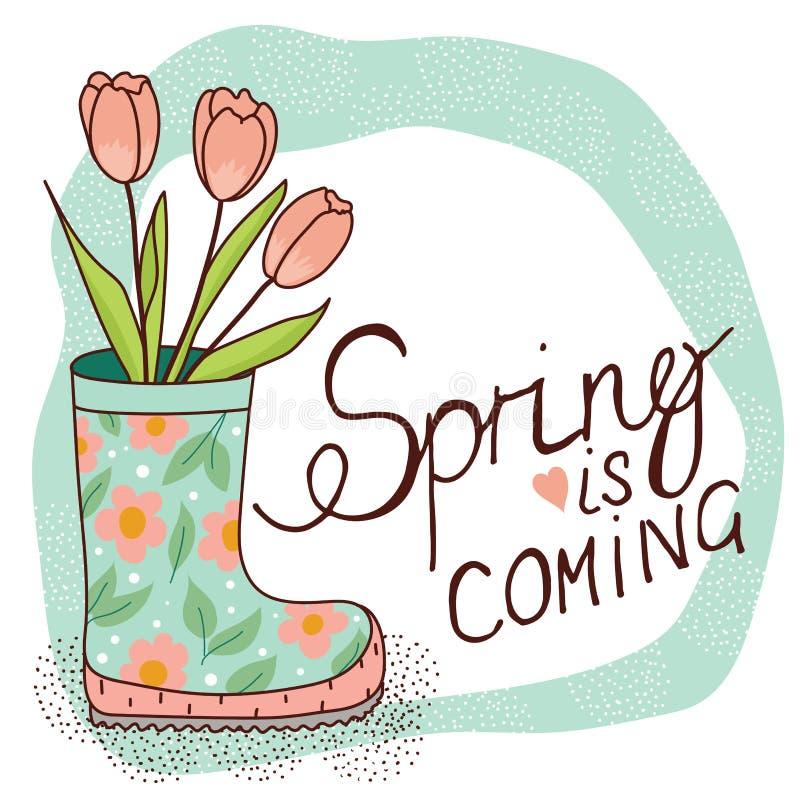 Карточка весны с ботинком и тюльпанами дождя иллюстрация вектора