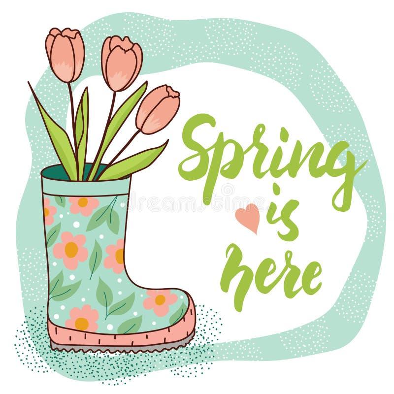 Карточка весны с ботинком и тюльпанами дождя иллюстрация штока