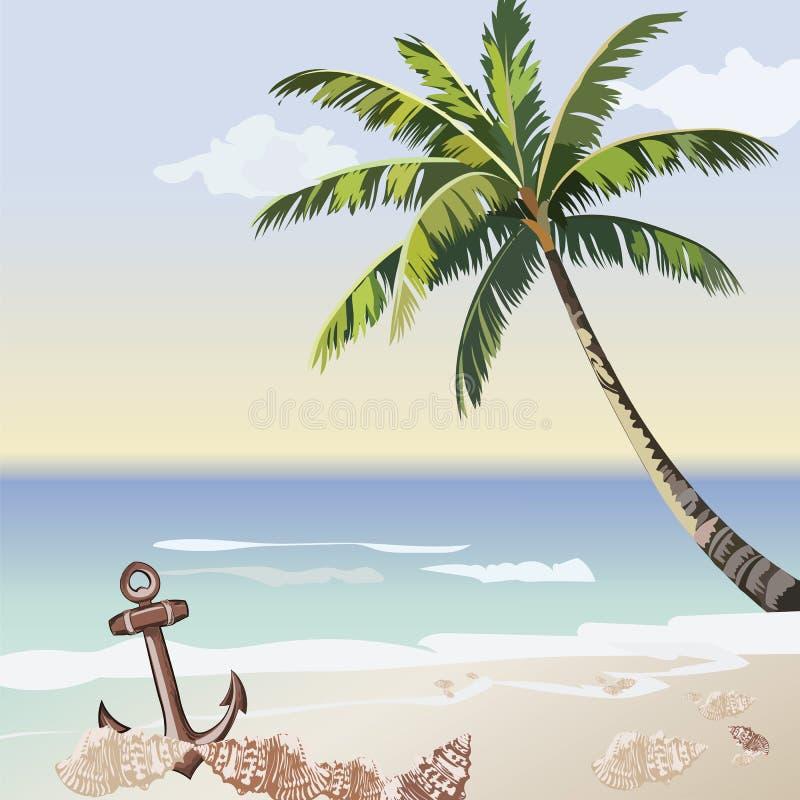 Карточка винтажного красивого взморья захода солнца тропическая иллюстрация штока