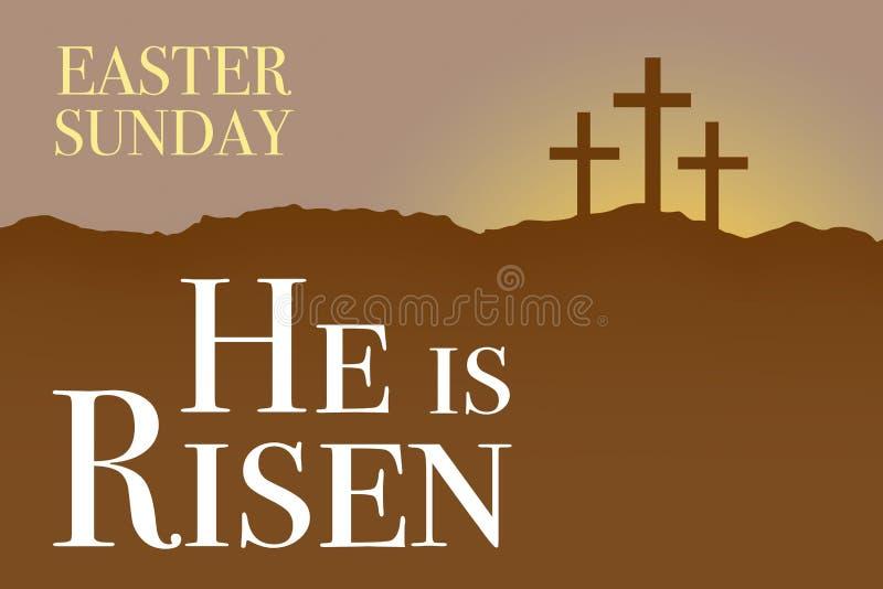 Карточка восхода солнца святой недели пасхи воскресенья иллюстрация вектора