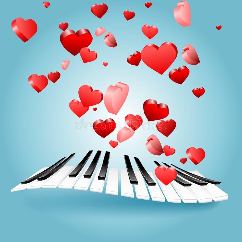 Карточка влюбленности валентинки St с сердцами и ключами рояля вектор нот влюбленности иконы иллюстрация вектора