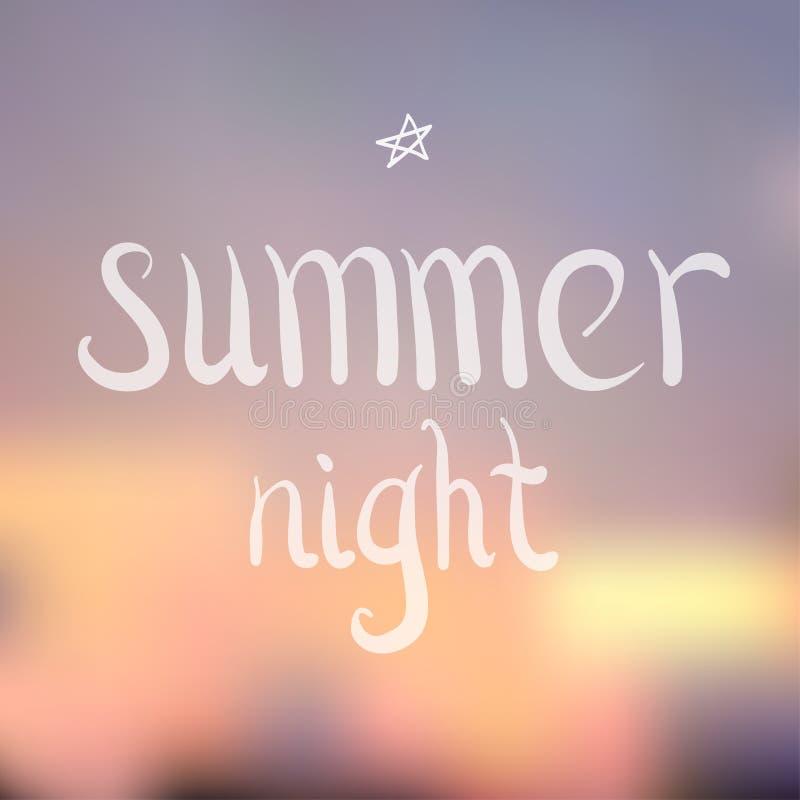 Карточка города ночи лета иллюстрация вектора