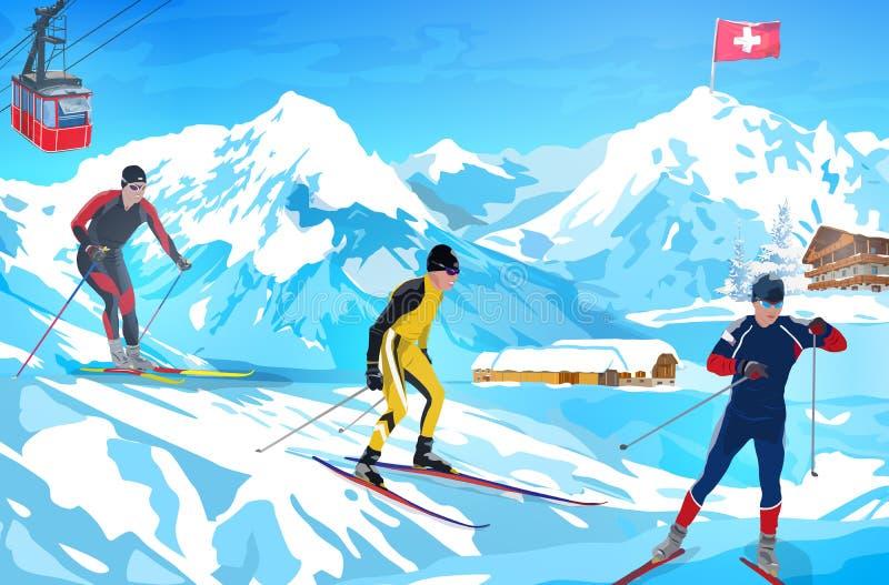 Карточка гостеприимсва горы зимы Альпов бесплатная иллюстрация
