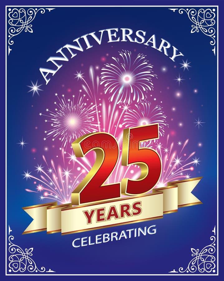 Карточка годовщины 25 лет иллюстрация штока