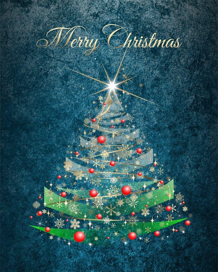 Карточка дерева рождества золотая с женится желания рождества иллюстрация вектора