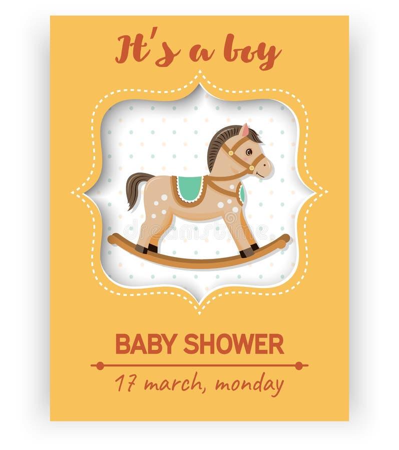 Карточка детского душа с лошадью иллюстрация штока