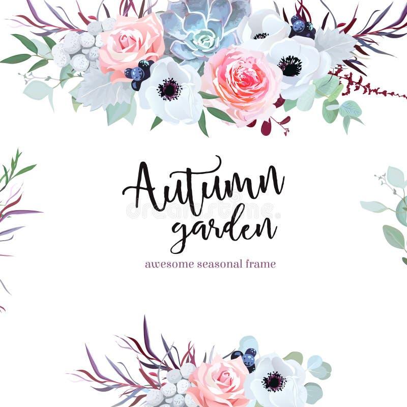 Карточка дизайна вектора цветков чувствительной свадьбы сезонная иллюстрация вектора