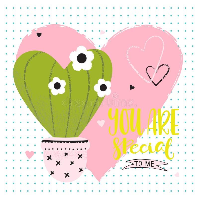 Карточка дня валентинок смешная с кактусом иллюстрация штока