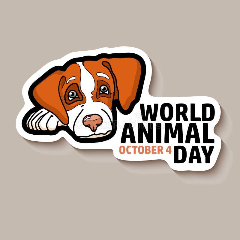 Карточка дня мира животная Стикер собаки также вектор иллюстрации притяжки corel иллюстрация штока