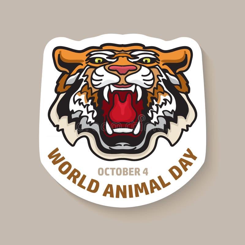 Карточка дня мира животная с тигром иллюстрация вектора