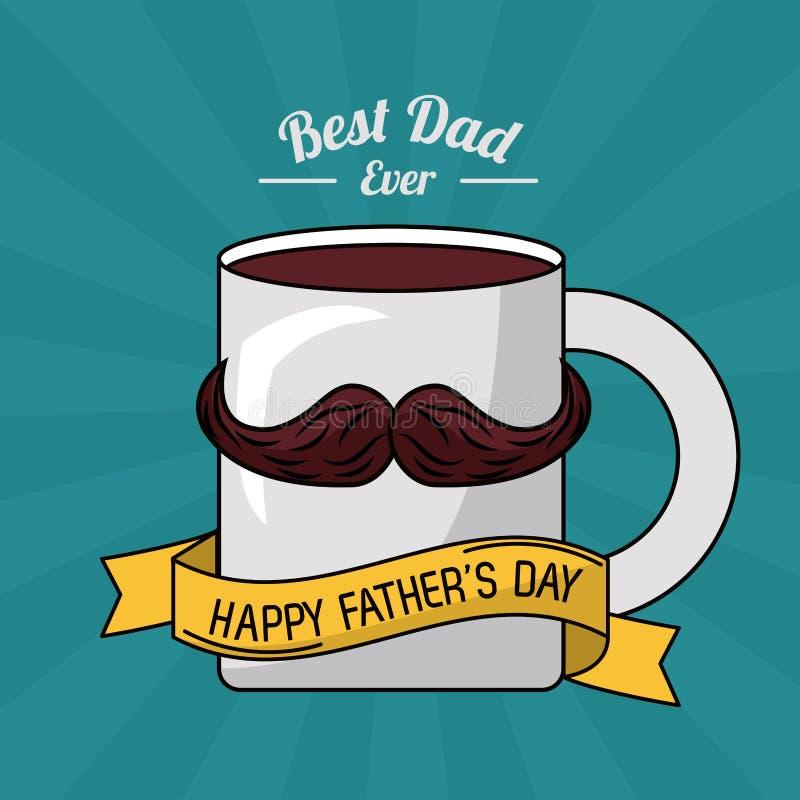 Карточка дня отцов, самый лучший папа всегда украшение ленты усика кофе кружки иллюстрация вектора