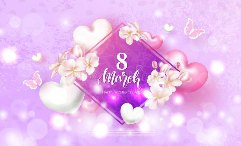 Карточка дня счастливых женщин 8-ое марта праздничная Красивая предпосылка с цветками, сердцами и бабочками также вектор иллюстра иллюстрация штока