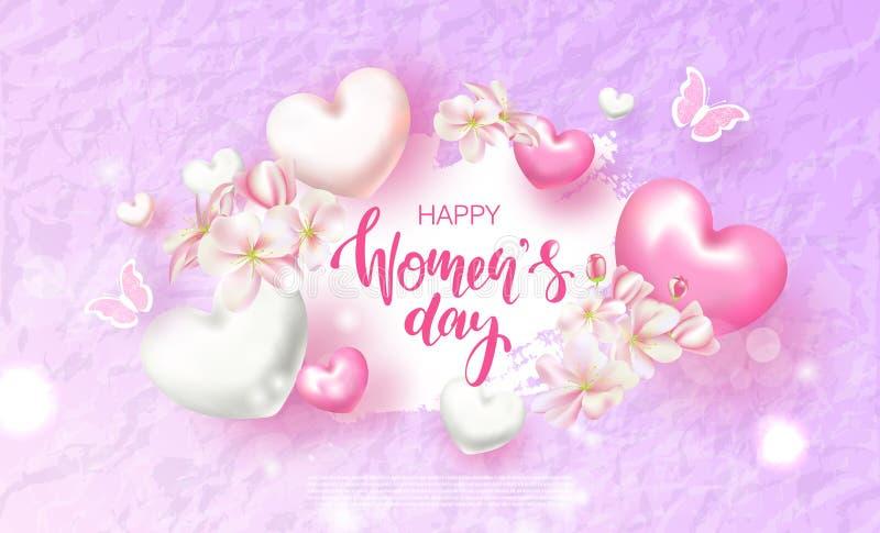 Карточка дня счастливых женщин 8-ое марта праздничная Красивая предпосылка с цветками, сердцами и бабочками также вектор иллюстра иллюстрация вектора