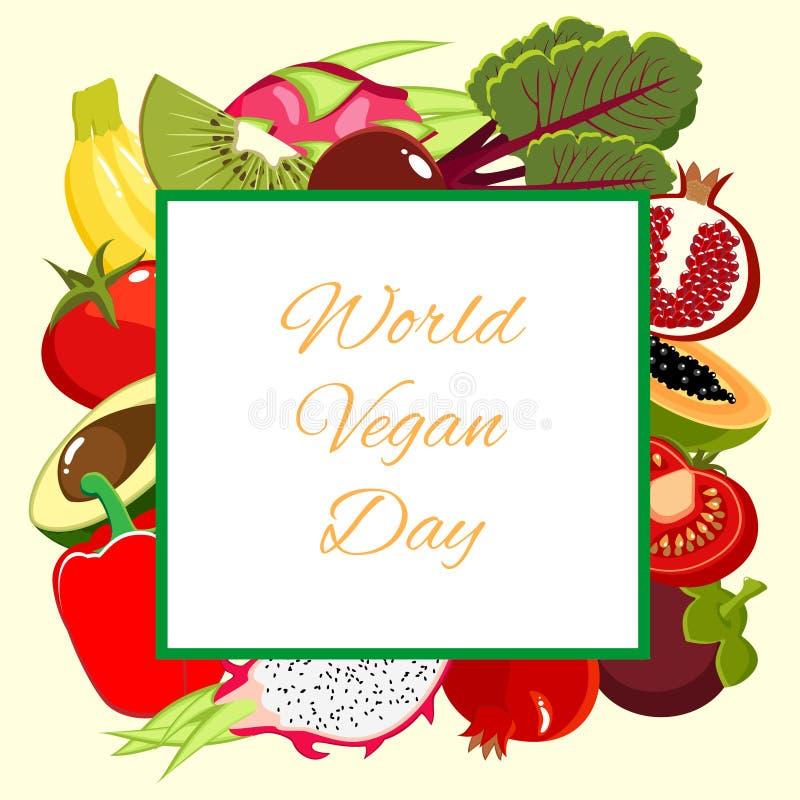Карточка дня Vegan мира бесплатная иллюстрация