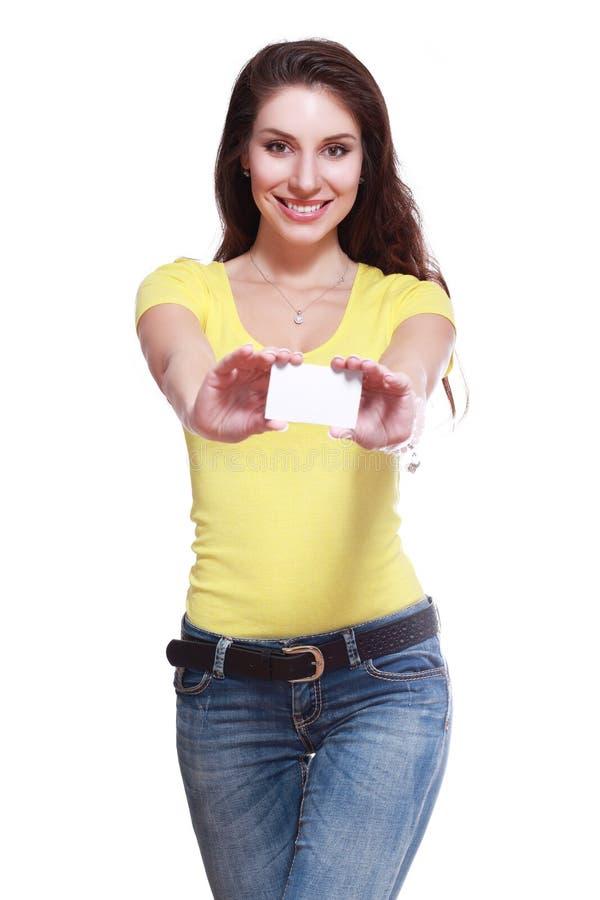 карточка держит женщину стоковое фото rf