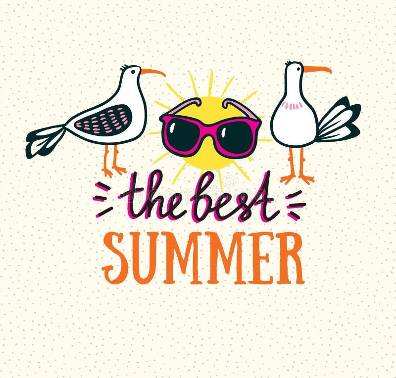 Карточка лета с литерностью нарисованной рукой стильной - 'самое лучшее лето' и чайки иллюстрация штока