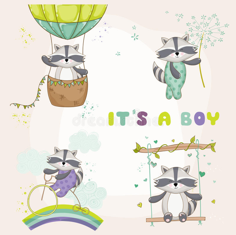 Карточка детского душа - с енотом младенца бесплатная иллюстрация