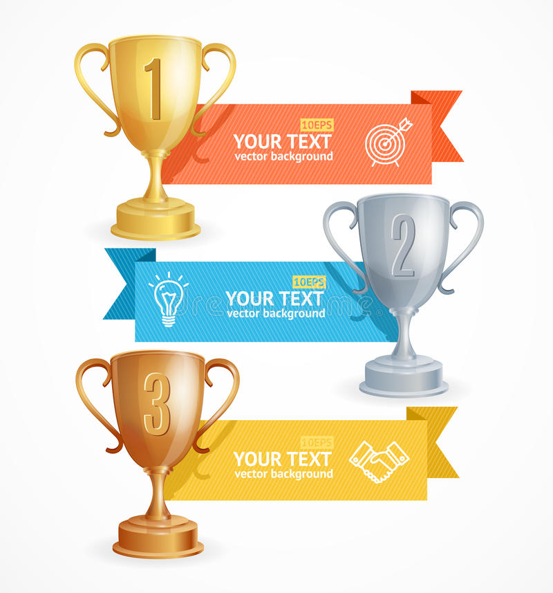 Карточка знамени варианта Infographic меню чашки награды вектор иллюстрация вектора