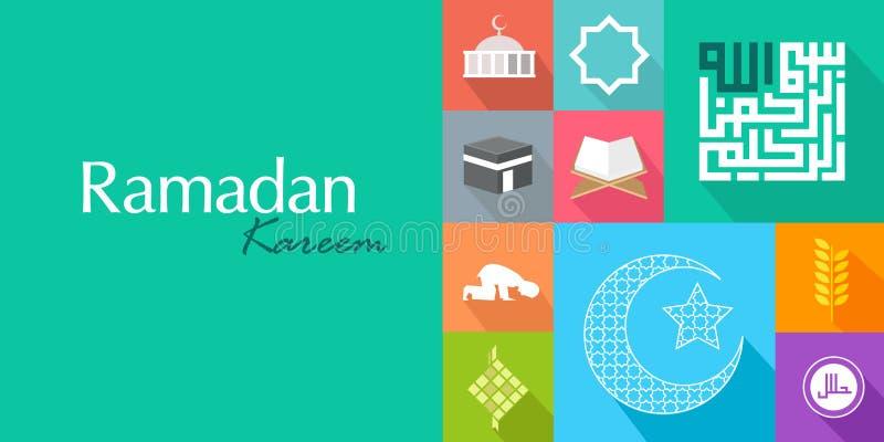 Карточка значка kareem ramadan koran ислама плоская бесплатная иллюстрация