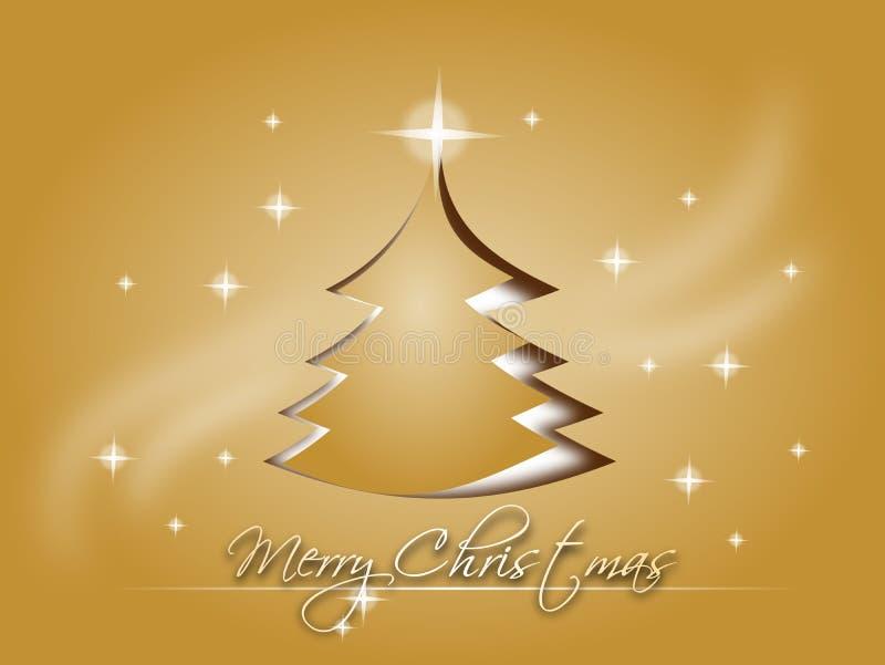 Карточка золота с Рождеством Христовым иллюстрация штока