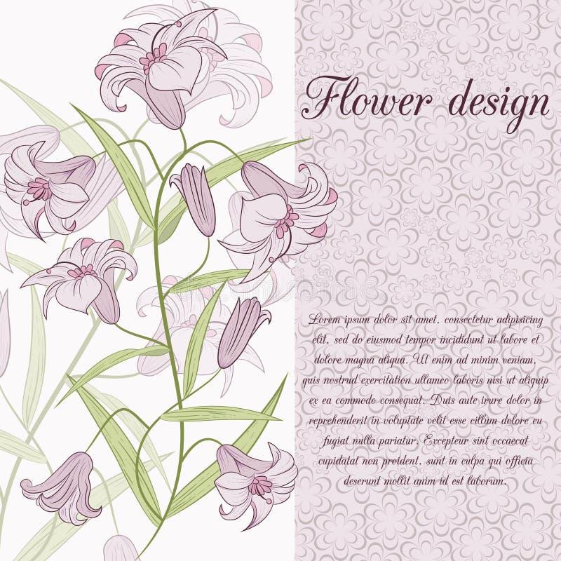 Download Карточка дизайна лилии иллюстрация вектора. иллюстрации насчитывающей крышка - 41660014