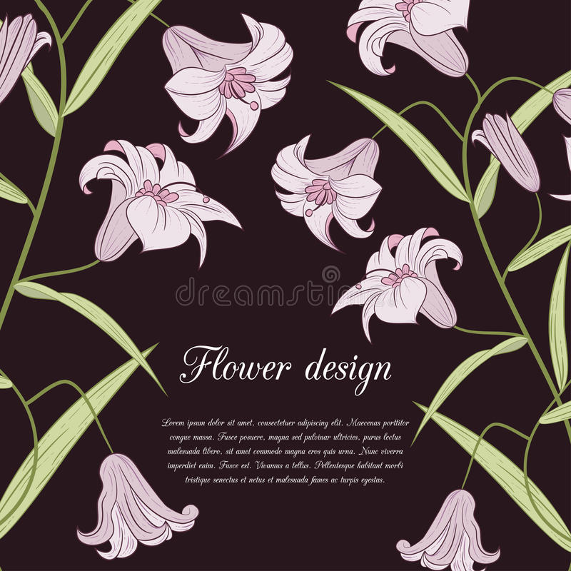 Download Карточка дизайна лилии иллюстрация вектора. иллюстрации насчитывающей дата - 41660042
