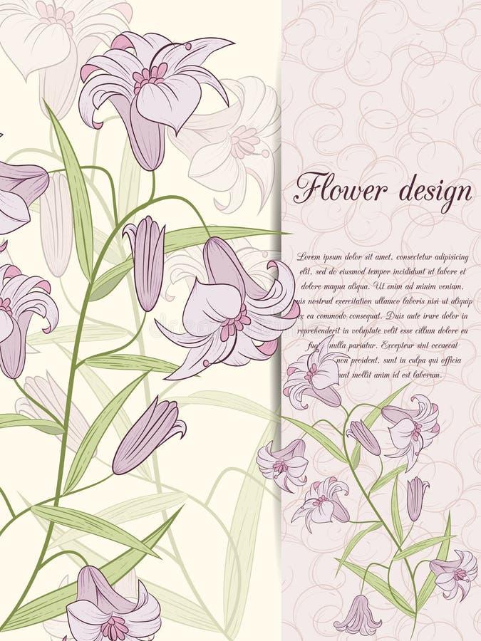 Download Карточка дизайна лилии иллюстрация вектора. иллюстрации насчитывающей иллюстрация - 41660347