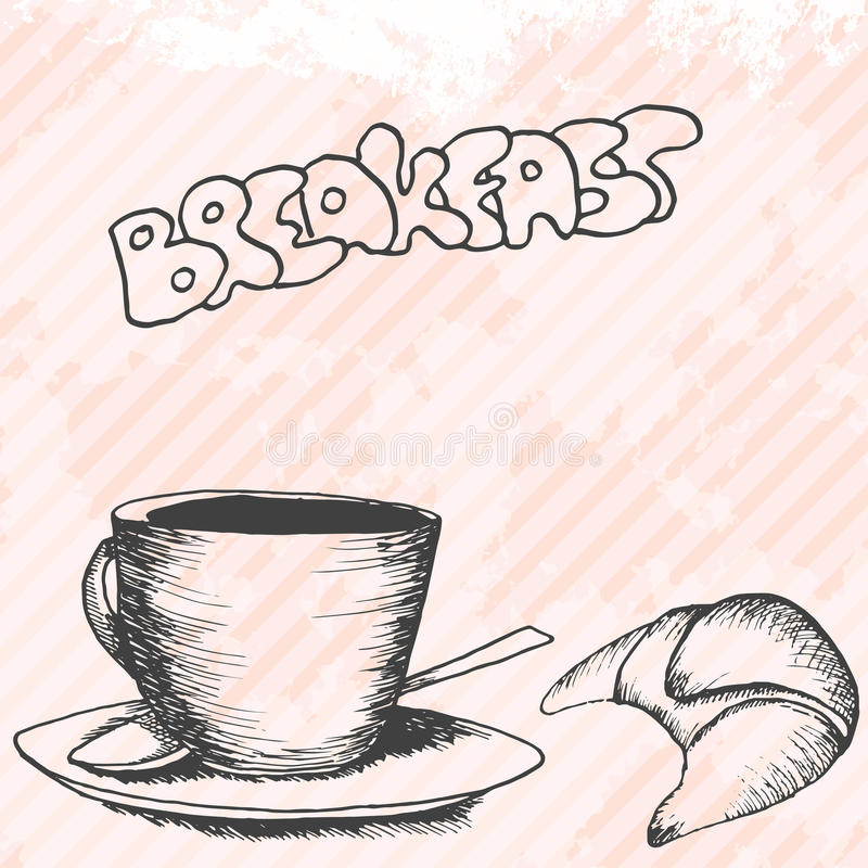 Download Карточка дизайна Breakfasrt ретро нарисованная рукой Иллюстрация вектора - иллюстрации насчитывающей горяче, корпоративно: 41662279