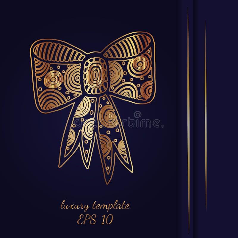 Карточка или предпосылка Iinvitation с большим антиквариатом смычка, роскошным золотом иллюстрация штока