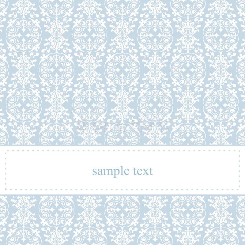 Карточка или приглашение вектора голубые с белым шнурком иллюстрация вектора