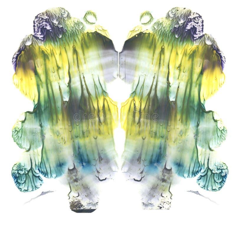 Карточка картины акварели конспекта штрафа испытания inkblot rorschach симметричной Желтая, зеленая, голубая и серая краска стили иллюстрация вектора