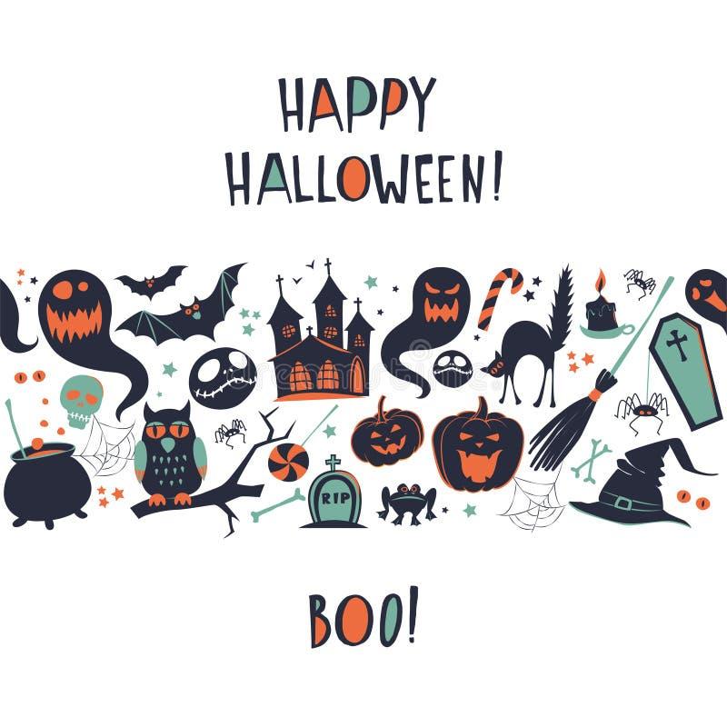 Карточка картины границы рамки предпосылки счастливой иллюстрации вектора хеллоуина безшовная иллюстрация штока