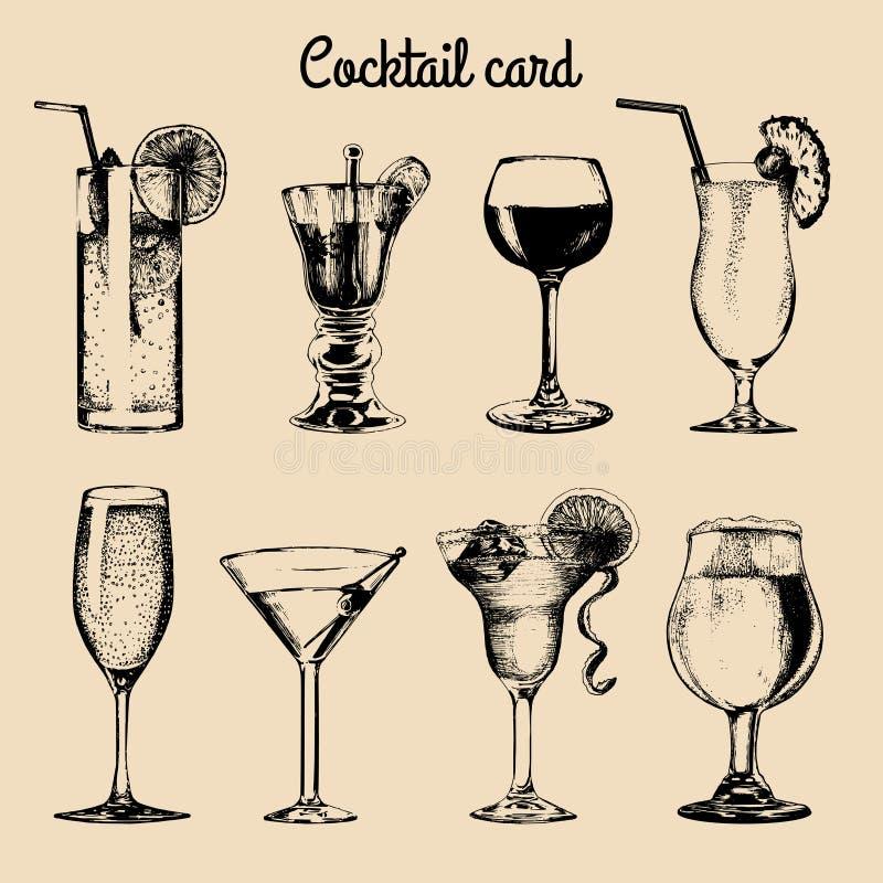 Карточка коктеиля Рука сделала эскиз к стеклам алкогольных напитков Комплект вектора иллюстраций пить, vodkatini, шампанского etc иллюстрация штока