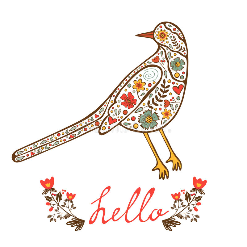 Карточка концепции здравствуйте! с флористической декоративной птицей бесплатная иллюстрация