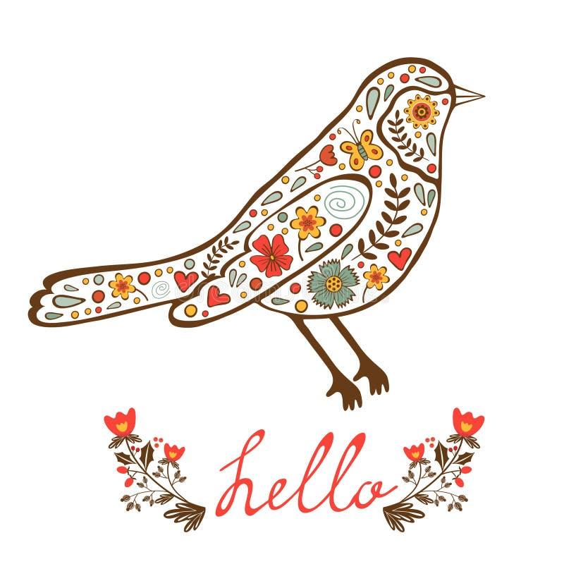 Карточка концепции здравствуйте! с флористической декоративной птицей иллюстрация штока