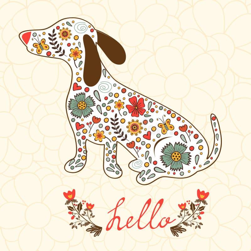 Карточка концепции здравствуйте! с флористической собакой барсука иллюстрация штока