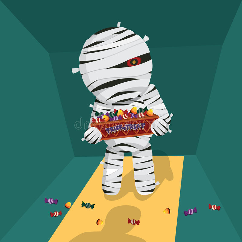 Карточка концепции хеллоуина с мумией приносит конфету для фокуса или обслуживания также вектор иллюстрации притяжки corel иллюстрация вектора