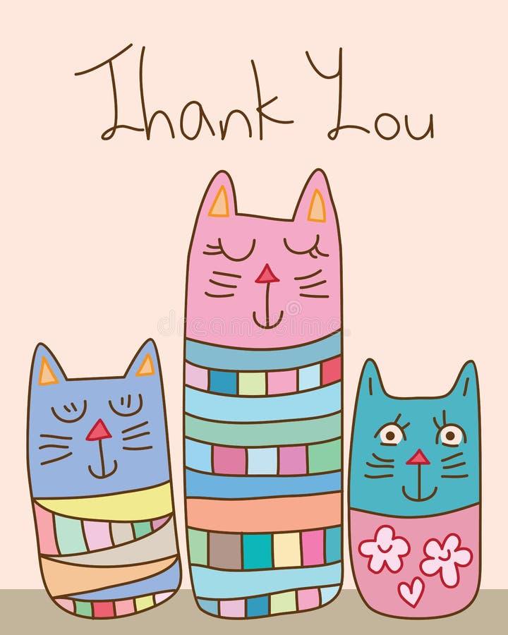 Карточка кота конспекта стиля Японии Kokeshi спасибо иллюстрация вектора