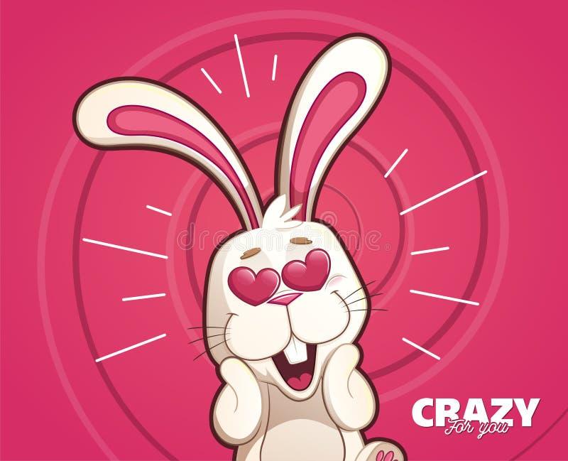 Карточка кролика сумашедше в влюбленности бесплатная иллюстрация