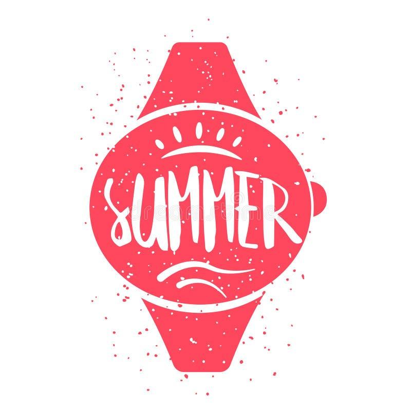Карточка лета с наручными часами и литерность отправляют СМС на белой предпосылке Vector иллюстрация для поздравительных открыток бесплатная иллюстрация