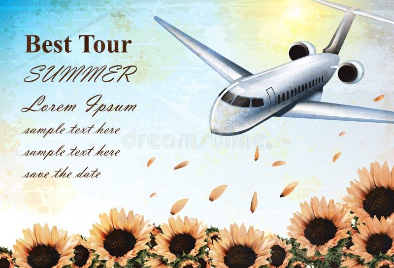 Карточка летних каникулов при самолет тропика летая над солнцецветами field вектор Шаблон экзотического назначения карточки перем бесплатная иллюстрация