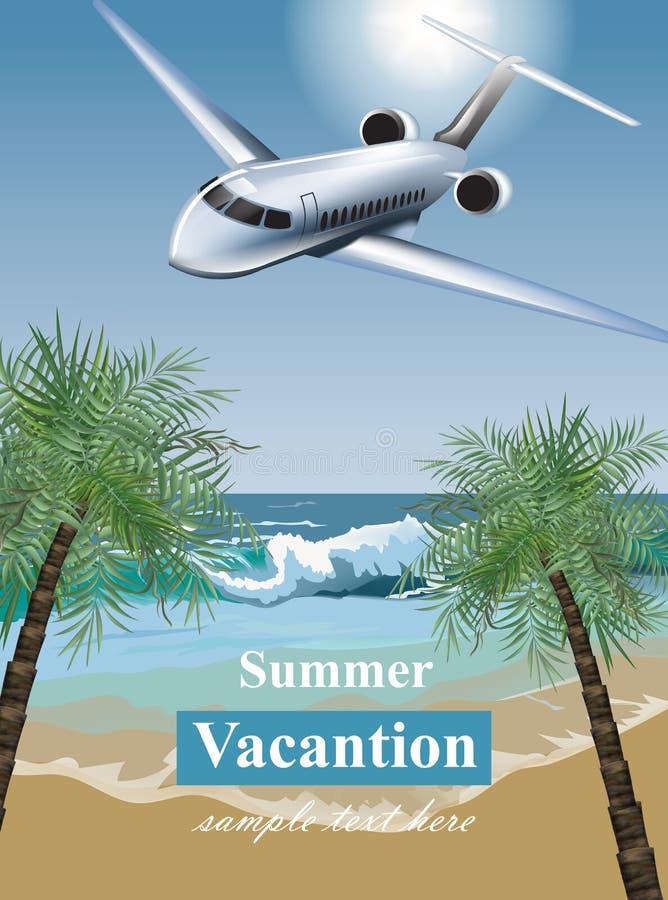 Карточка летних каникулов с троповым пляжем и плоским вектором Знамена шаблона экзотического назначения карточки перемещения иллюстрация вектора