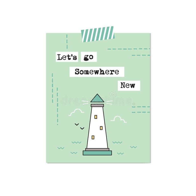 Карточка маяка вдохновляющая иллюстрация вектора