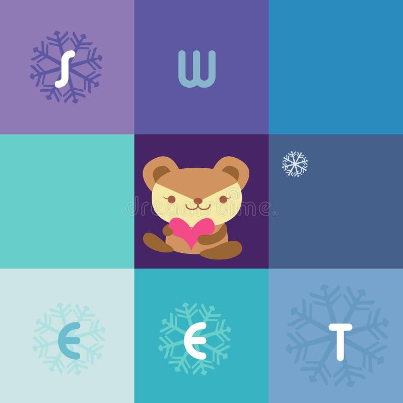 карточка медведя иллюстрация вектора