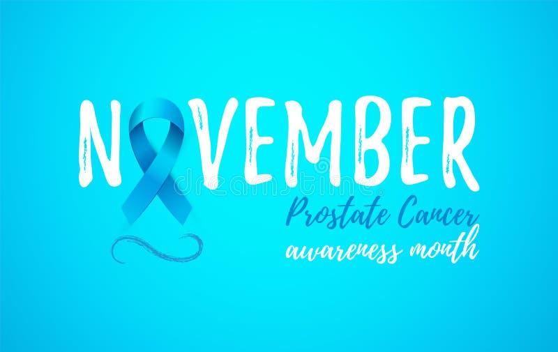 Карточка месяца осведомленности рака предстательной железы в ноябре с голубой лентой 3d бесплатная иллюстрация