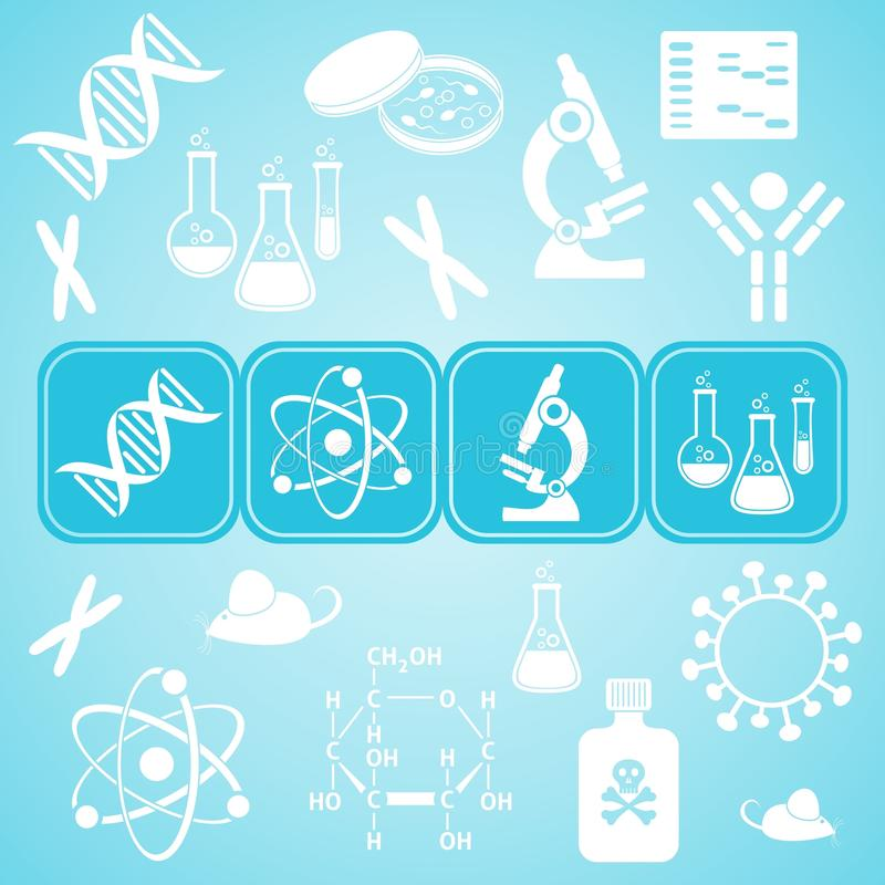 Карточка науки молекулярной биологии иллюстрация вектора