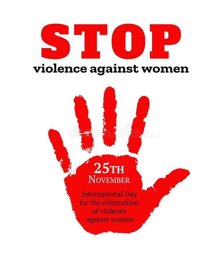 Карточка на международный день для исключения насилия против женщин Красное женское handprint также вектор иллюстрации притяжки c иллюстрация штока
