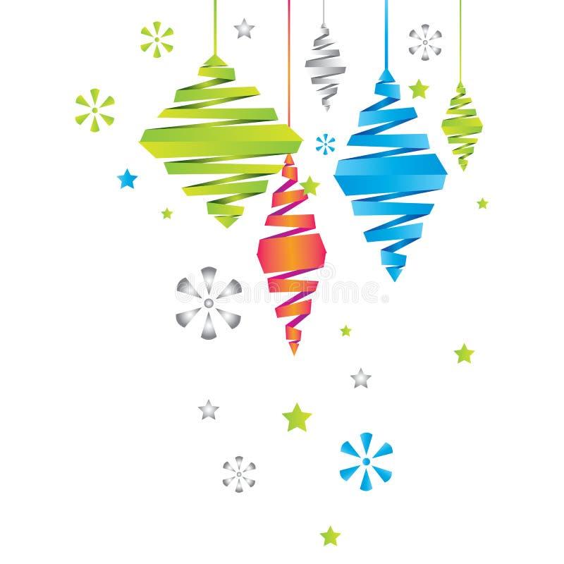 Download Карточка Нового Года вектора с украшениями рождества Иллюстрация вектора - иллюстрации насчитывающей звезда, знамена: 33727854